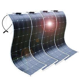 DOKIO 400W フレキシブル ソーラーパネル 単結晶 4*100W 12V 自作のソーラー発電に最適な小型・家庭用太陽光パネル 車中泊 防災グッズ