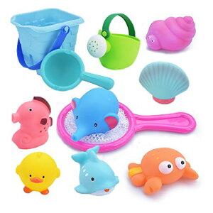 お風呂 おもちゃ Bacolos おふろ 水遊びおもちゃ シャワー プール おもちゃ 11点セット 噴水 音出す動物 漁網 ひしゃく ジョウロ バケツ 柔らかい 子供 おもちゃ 収納バッグ付き