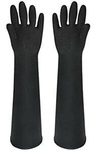 bath&bath ゴム手袋 60cm ロング 厚手 サンドブラスト メッキ グローブ 消毒 清掃 作業 (黒)
