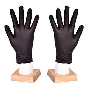 [FJTK]使い捨て手袋 滑りにくい 超弾性 多用途 黒 100枚入 (M)