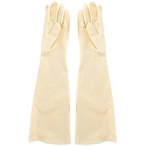 bath&bath ゴム手袋 60cm ロング 厚手 サンドブラスト メッキ グローブ 消毒 清掃 作業 (白)