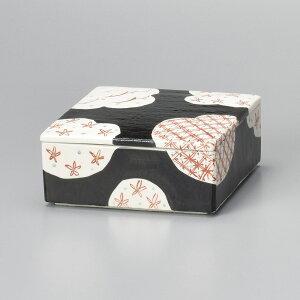 黒格子 蓋付 陶箱 15.5x15.5x6.8cm 陶器製弁当箱 煮物 漬物 佃煮 和菓子 保存容器 日本製 陶器の小箱