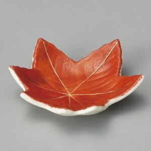 【陶器まつり】6cm 赤絵楓 豆皿6.4x1.5cm 薬味 塩 スパイス 味噌 からし しょうゆ 香の物和の小皿 ミニ皿 ナッピー