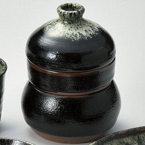 柚子天目 三段 徳利蒸し 10x13.5cm 徳利120cc だし入300cc 日本製 日本製 蒸し碗 薬味皿 つゆ入れが一つになった 徳利むし
