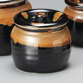 黒みつわ 蓋付 800cc かめポット・たれつぼ日本製の蓋つき甕、みそ・薬味の保存容器蓋物・カメ・薬味入れ・ソース・タレ入れ