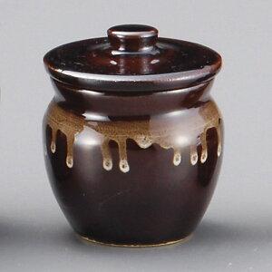 【陶器まつり】アメ釉 100cc 蓋付 1号丸かめ7.5x7cm 日本製 美濃焼蓋つき甕 保存容器 蓋物 カメ 薬味入れとうがらし 豆板醤 にんにく 七味 からし