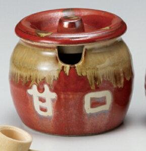 赤釉 蓋付 400cc 「甘口」 かめポットさじのカット入り日本製のみそ 薬味つぼ 調味料容器業務用 居酒屋 ラーメン 焼肉店食器