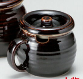 持ち手&蓋付 750cc 味噌入れ 黒釉 かめ型ポット日本製の薬味つぼ、調味料容器
