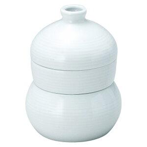 青白磁 三段 徳利蒸し 10x13.5cm 徳利120cc だし入300cc 日本製 小碗 薬味皿 つゆ入れが一つになった 徳利むし