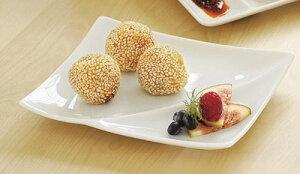 ノーブル 18cm スプラッシュ 2仕切り皿 ( 特白磁 )日本製大人の贅沢 コース料理プレート和 洋 中華に使える汎用性の高い仕切り付き食器ソース つけだれ 薬味の小分けに便利な区切り皿