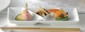ノーブル 20cmY形 角3品しょうゆ & 酢 & からし & 薬味皿 ( 特白磁 )日本製大人の贅沢 コース料理プレート和 洋 中華に使える汎用性の高い仕切り付き食器ソース つけだれ 薬味の小分けに便利な