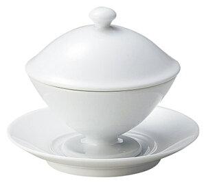 パルモ 蓋・皿付 高台ボウル 口径11.2cm 高さ10.7cm 210cc 皿直径14.2cm 特白磁 デザートボウル スープボウル ふかひれスープ 杏仁豆腐