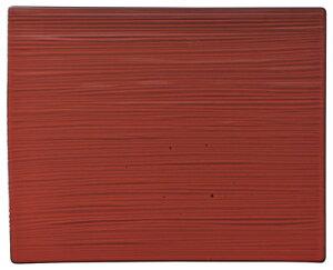 ジャポニズム紅玉 32cm ワイド長角皿 32.5x26x1cm 千筋彫刻の鮮やかなフラット皿 和モダン 和カフェ 古民家カフェ ビンテージカフェ食器日本製