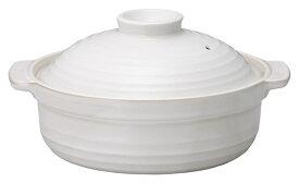 白釉 10号 4500cc なごみ 深口土鍋 手含む長径35.7cm 口径31cm 高さ17.9cm 日本製 美濃焼