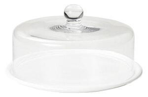 チーズ&ケーキドーム ディスプレイケース 25cmガラス製カバー+28cm丸皿セット