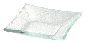 ガラス製 8.5cm 角小皿 8.5x1.6cm トルコ製 業務用ガラス食器デザート ジャム ソース スパイスのミニプレート 角型小皿ビュッフェ アペタイザー用品 ナッピー皿