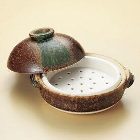 南蛮織部 蒸し土鍋 すのこ付ヘルシーな蒸鍋 スチーム調理に蒸スノコを外せばふつうの土鍋として使えます蒸野菜 肉 焼売 肉まん 飲茶 点心 小龍包あつあつを食卓へ
