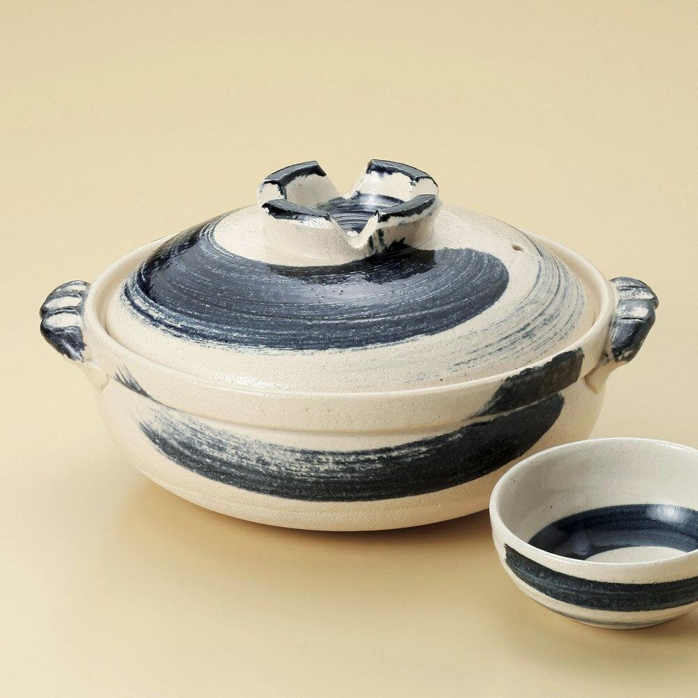 【直火用 土鍋が問屋価格で】ゴス刷毛目 8号土鍋 日本製のテーブルに運んでからも冷めにくく、温かい土鍋