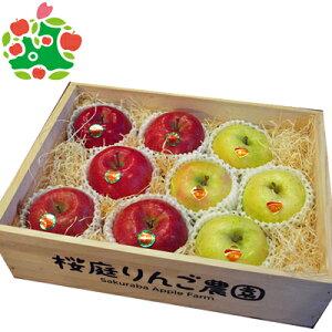 りんご サンふじ 王林 特選大玉 ギフト木箱 青森県産 ギフト 贈答用 3kg 送料無料