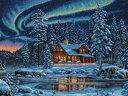 ディメンションズ クロスステッチ 刺繍キット Dimensions Counted Cross Stitch, Aurora Cabin オーロラキャビン・お取...