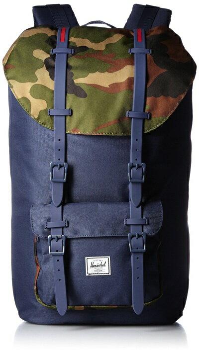 ハーシェルサプライ リトルアメリカ バックパック ネイビー/迷彩 Herschel Supply Co. Little America Backpack Navy/Woodland Camo/Navy Rubber Straps/Red Insert・お取寄