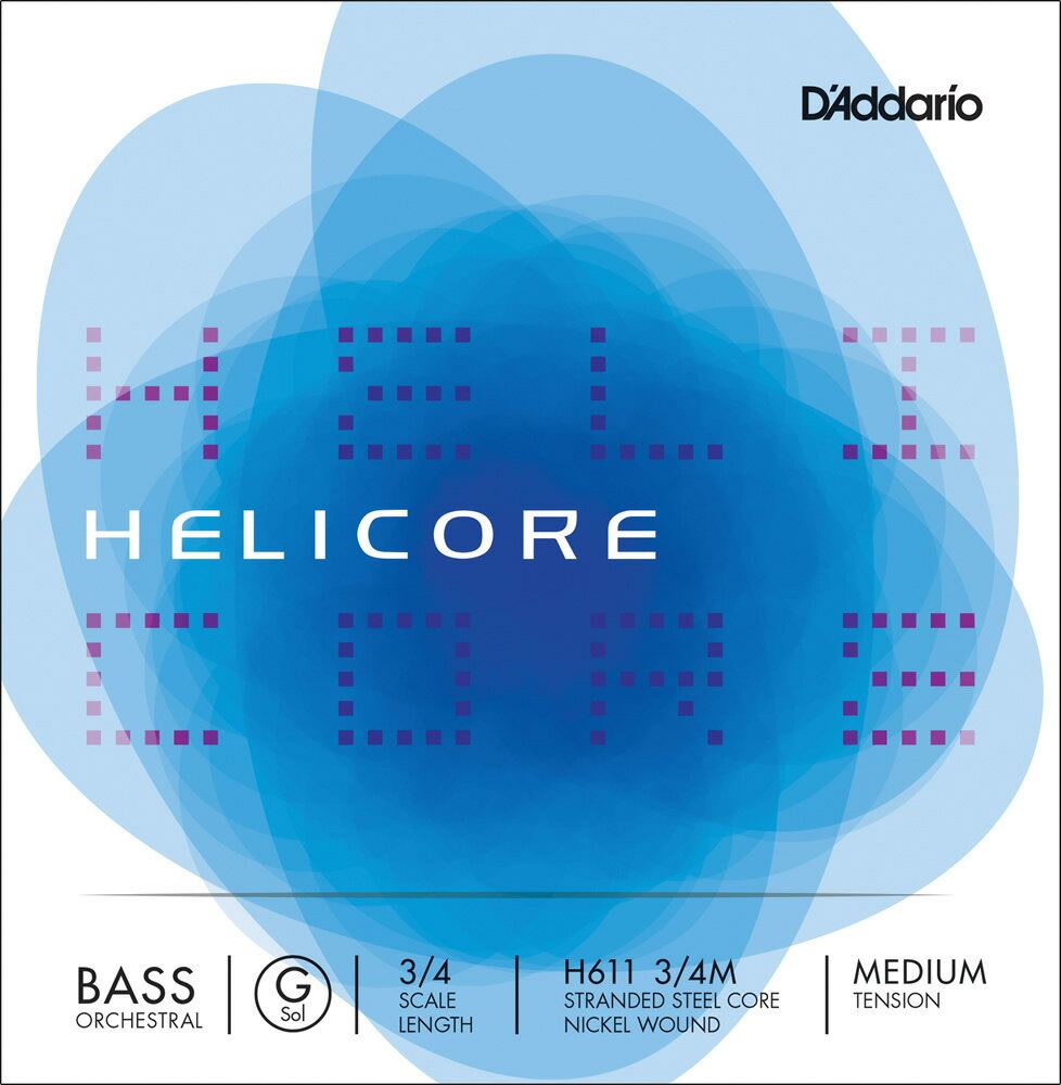 D'Addario ウッドベース弦 H611 3/4M Helicore Orchestral Bass Strings / G-MED (バラ弦/ミディアム)【ダダリオ daddario コントラバス】【ゆうパケット対応】