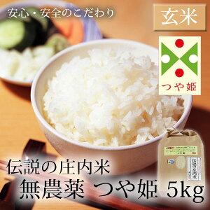伝説の庄内米 無農薬つや姫/玄米 5kg ( 山形県産 特別栽培米 令和3年度産新米 )