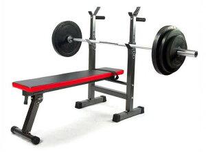 バーベル台付きフラットベンチ 筋トレ ダンベル トレーニング ベンチプレス
