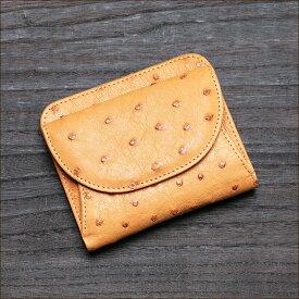 オーストリッチ ダチョウ革 二つ折り財布 小銭入れあり キャメル/茶色 メンズ 日本製 オリジナル