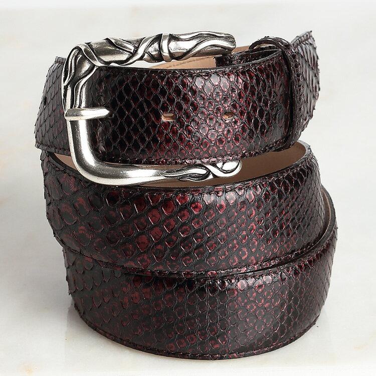 パイソン 蛇革 ベルト メンズ 日本製 本革 クアトロガッティ イタリア製 バックル 40mm ダイヤモンドパイソン メタリック ボルドー バレンタイン ギフト
