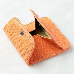 クロコダイルレザーコインケース小銭入れカラーオレンジ日本製【わに革】【送料無料】