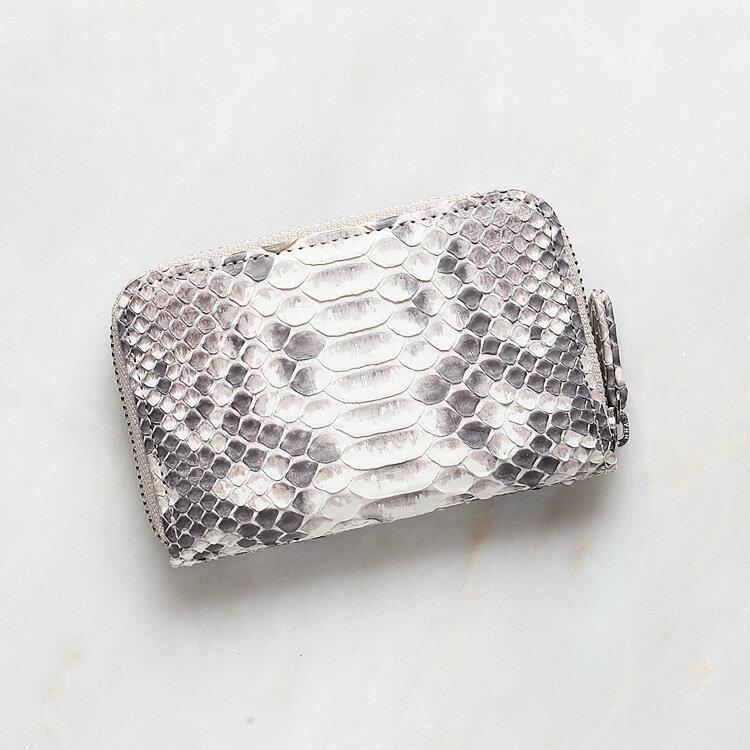 パイソン 蛇革 本革 コインケース 小銭入れ 日本製 ダイヤモンドパイソン オリジナル ホワイト ナチュラル