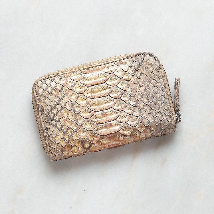 パイソン 蛇革 本革 コインケース 小銭入れ 日本製 ダイヤモンドパイソン オリジナル パールゴールド