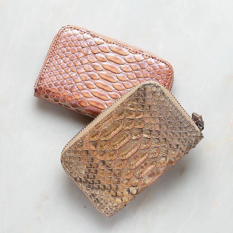 コインケース 小銭入れ パイソン 蛇革 ゴールド/金 サーモンピンク 本革 日本製 ダイヤモンドパイソン オリジナル ラッピング無料 ギフト