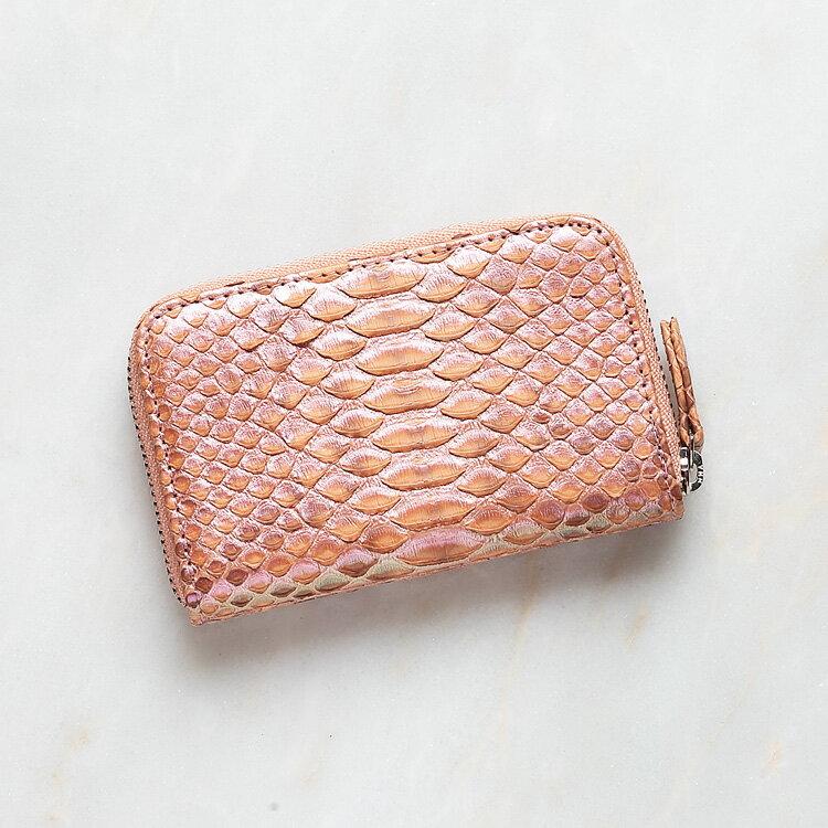 パイソン 蛇革 本革 コインケース 小銭入れ 日本製 ダイヤモンドパイソン オリジナル サーモンピンク