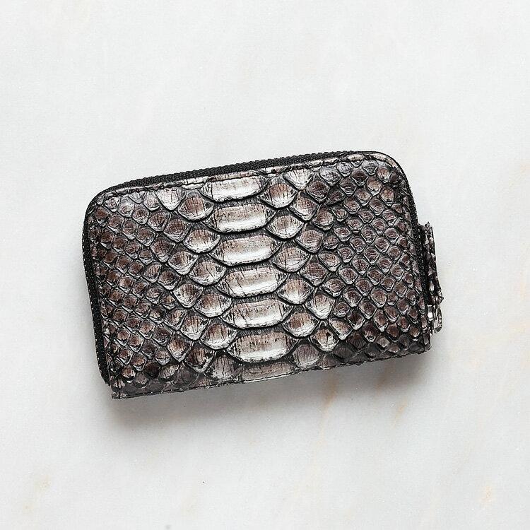 パイソン 蛇革 本革 コインケース 小銭入れ 日本製 ダイヤモンドパイソン オリジナル ブラックグラデーション