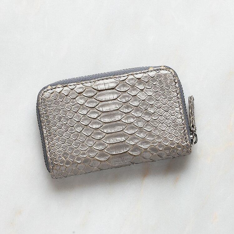 パイソン 蛇革 本革 コインケース 小銭入れ 日本製 ダイヤモンドパイソン オリジナル シルバーグレー