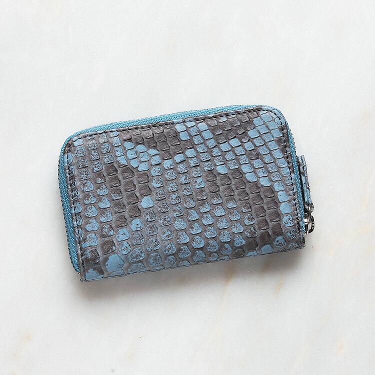 パイソン 蛇革 本革 コインケース 小銭入れ 日本製 ダイヤモンドパイソン オリジナル ブルー