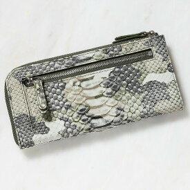 財布 長財布 メンズ レディース パイソン 蛇革 小銭入れあり ダイヤモンドパイソン 日本製 オリジナル 迷彩柄 カモフラージュ グリーン/緑