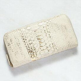 財布 長財布 メンズ レディース パイソン 蛇革 小銭入れあり ダイヤモンドパイソン 日本製 オリジナル ホワイト ゴールド/金 白 開運 金運