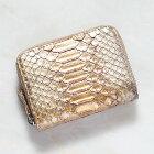 パイソンレザーヘビ革蛇財布ミニウォレットコインケース小銭入れ日本製送料無料ゴールド