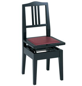 甲南 No.6 (本体:黒/座面:エンジ) ピアノイス 背もたれ付高低自在ピアノ椅子 トムソン椅子【代金引換不可】【送料無料】【smtb-TK】【ポイント2倍】