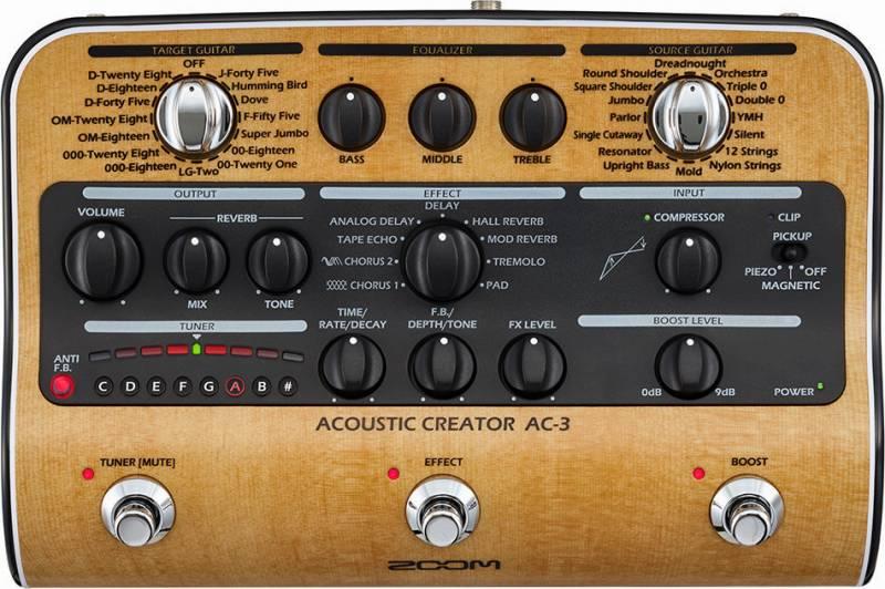 【ポイント6倍】【限定ZOOMピック2枚付】【送料無料】ズーム ZOOM AC-3(ACアダプター付属) ピックアップで失われたボディ鳴りを再現 Acoustic Creator【smtb-TK】