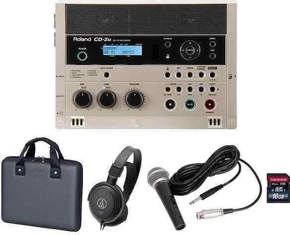 【送料無料】ローランド Roland CD-2u(専用ケース+audio-technicaヘッドホン+ダイナミックマイク+SDHCカード/16GB付) 練習や学習に活かせる、簡単操作で高品位なレコーディングが可能なSD/CDレコーダー【smtb-TK】