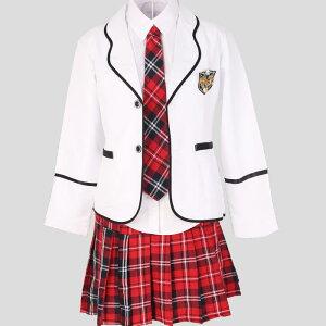 送料無料 卒業式 スーツ 女の子 子供スーツ フォーマル 正統派ガールズ セーラー服 女子高生 スクール制服 学生清純  ジャケット+ブラウス+スカート+ネクタイ+バッジの 5点セット コス