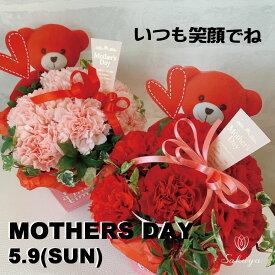 【遅れてごめんね】母の日 プレゼント ギフト カーネーション 花 アレンジ くま ボックス おすすめ 喜ばれる 笑顔 赤ピンク 選べる楽しさ かわいさ満点 ピンク まだ間に合う!