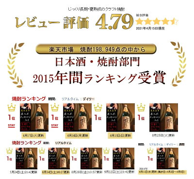 レビュー評価★4.78日本酒・焼酎2015年間ランキング受賞