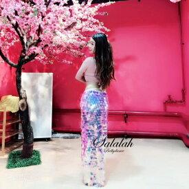 キラキラスパンコールマーメイドロングトライアングルヒップスカーフ ピンク s1198 ベリーダンス衣装 コスチューム レッスンウェア レッスン着 ステージ 発表会 ドレス