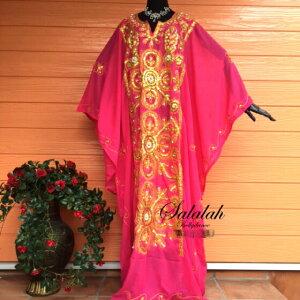 エジプト製ハリージドレスレッドゴールドスパンコール刺繍シフォン素材