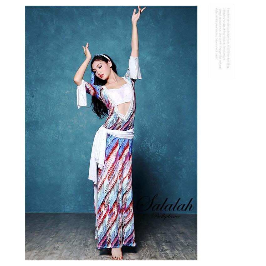 ベリーダンス衣装 サイーディドレス ワンピース レッスンウエア ドレス ヒップスカーフ ヘアスカーフ グリーン プリント柄